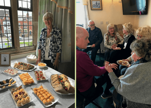 Party food and chat at residents' events